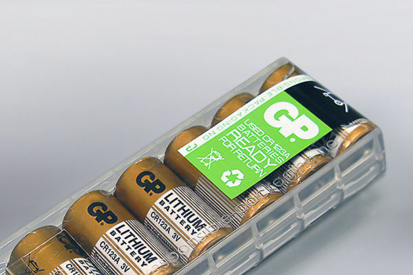 Responsible Packaging Battclip CR 123 Battery dispenser